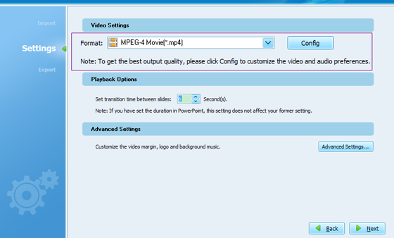 PPS to MP4 settings