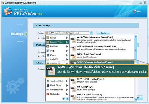 Select WMV as the output video format