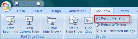 record narration in slide show tab