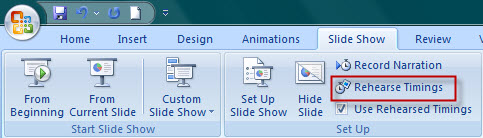 rehearse timings in slide show tab