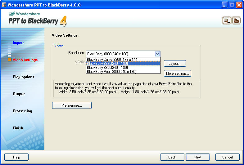 Professional tool to convert PowerPoint to BlackBerry video